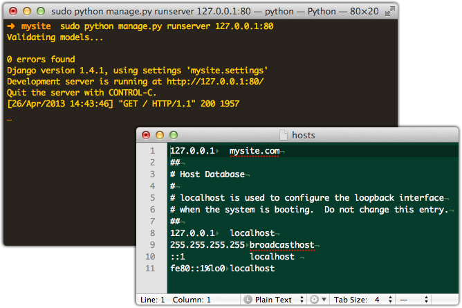 Pic of Django development server running in shell and in the foreground the hosts file.